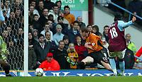 Photograph: Scott Heavey, Digitalsport<br /> Aston Villa v Wolverhampton Wanderers. FA Barclaycard Premiership. 14/12/2003.<br /> Juan Pablo Angel slots away his second goal of the game