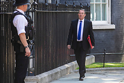 © Licensed to London News Pictures. 23/07/2019. London, UK. Secretary of State for International Trade Liam Fox arrives on Downing Street for the final Cabinet meeting under Prime Minister Theresa May. The result of the Conservative Party leadership contest will be announced this morning. Photo credit: Rob Pinney/LNP