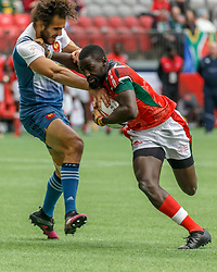 March 10, 2018 - Vancouver, British Columbia, U.S. - VANCOUVER, BC - MARCH 10:  Jonathan Laugel (#1) of France tackles Samuel Oliech (#10) of Kenya during Game # 3- Kenya vs France Pool C match at the Canada Sevens held March 10-11, 2018 in BC Place Stadium in Vancouver, BC. (Photo by Allan Hamilton/Icon Sportswire) (Credit Image: © Allan Hamilton/Icon SMI via ZUMA Press)