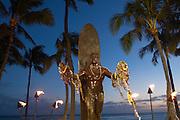 Duke Kahanamoku Statue, Twilight, Waikiki, Honolulu, Oahu, Hawaii