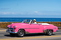Classic Car,Malecon, Havana, Cuba 2020 from Santiago to Havana, and in between.  Santiago, Baracoa, Guantanamo, Holguin, Las Tunas, Camaguey, Santi Spiritus, Trinidad, Santa Clara, Cienfuegos, Matanzas, Havana