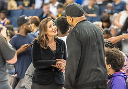 July 6, 2018 - Oakland, CA, U.S. - OAKLAND, CA - JULY 06: Oakland mayor Libby Shaff greets LL Cool J, rapper and entertainer between game 1 and game 2 in week three of the BIG3 3-on-3 basketball league on Friday, July 6, 2018 at the Oracle Arena in Oakland, CA(Photo by Douglas Stringer/Icon Sportswire) (Credit Image: © Douglas Stringer/Icon SMI via ZUMA Press)