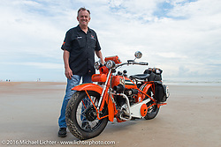 """Randy Aron with his 1929 Harley-Davidson JD named """"Lucille"""" on the sands of Daytona Beach before the start of stage 1 of the Motorcycle Cannonball Cross-Country Endurance Run, which on this day ran from Daytona Beach to Lake City, FL., USA. Friday, September 5, 2014.  Photography ©2014 Michael Lichter."""
