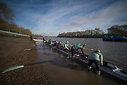 Putney, London, Varsity, Tideway Week, 5th April 2019, CUWBC Blue Boat, Embankment, Start of the Oxford Cambridge Media week, Championship Course,<br /> [Mandatory Credit: Peter SPURRIER], Friday,  05.04.19,