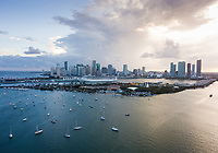 MIAMI, FLORIDA - CIRCA SEPTEMBER 2017: Aerial view of Downtown Miami, the Miami Seaport, Cruise Terminal and Biscayne Bay at Sunset