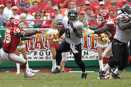 October 7, 2007 - Kansas City, MO..Quarterback David Garrard #9 of the Jacksonville Jaguars rushes out of trouble against the Kansas City Chiefs in the second half, during a NFL game at Arrowhead Stadium in Kansas City, Missouri on October 7, 2007...MLB:  The Jaguars defeated the Chiefs 17-7.  .Photo by Peter G. Aiken/Cal Sport Media