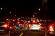 File tijdens de avondspits op de A12 tussen Utrecht en Den Haag..File, row during the evening peak hour on a highway, Netherlands
