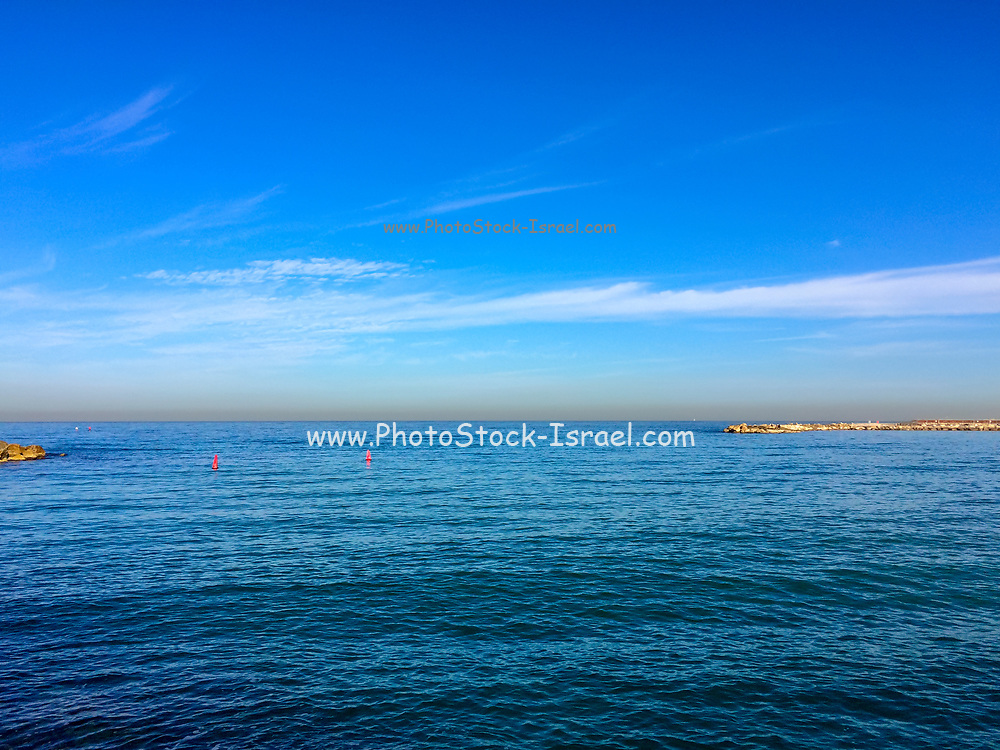 Looking out to sea from Gordon Beach, Tel Aviv, Israel