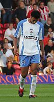 Photo: Frances Leader.<br />Brentford v Swindon Town. Coca Cola League 1.<br />15/10/2005.<br /><br />Swindon's Jerel Ifil gets a red card and is sent off.