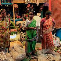 Asia, India, Calcutta. Women in the flower market in Calcutta.