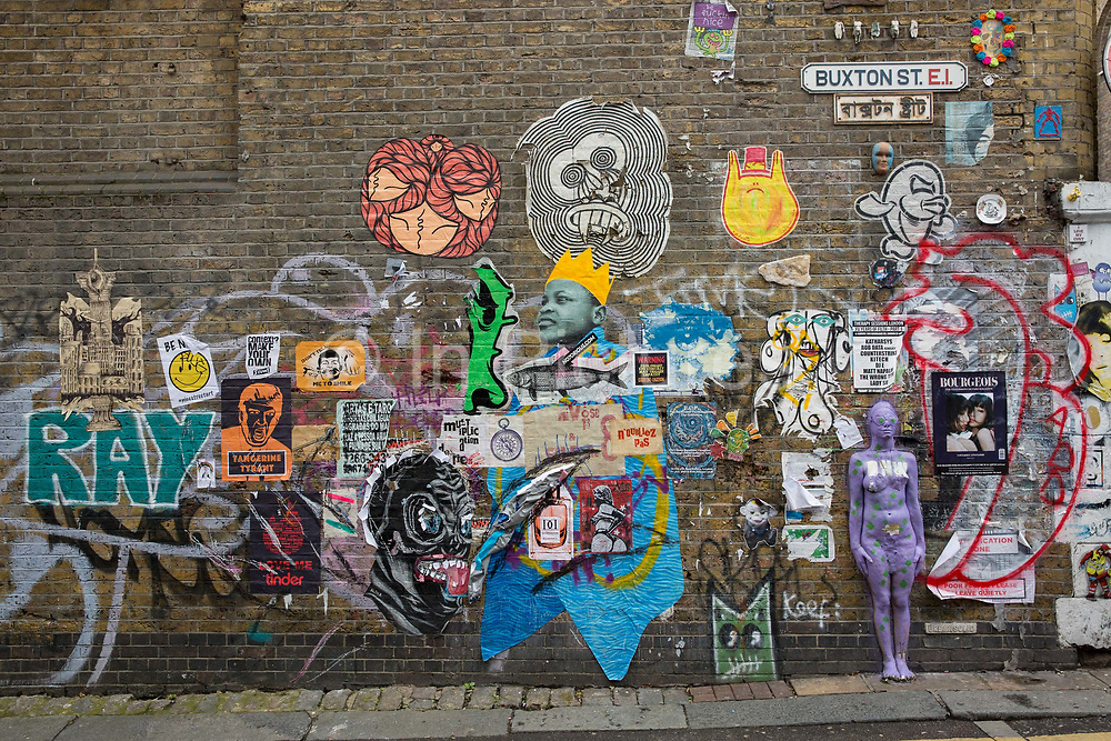 Street art on Buxton Street, off Brick Lane, on the 28th March 2018 in East London, United Kingdom