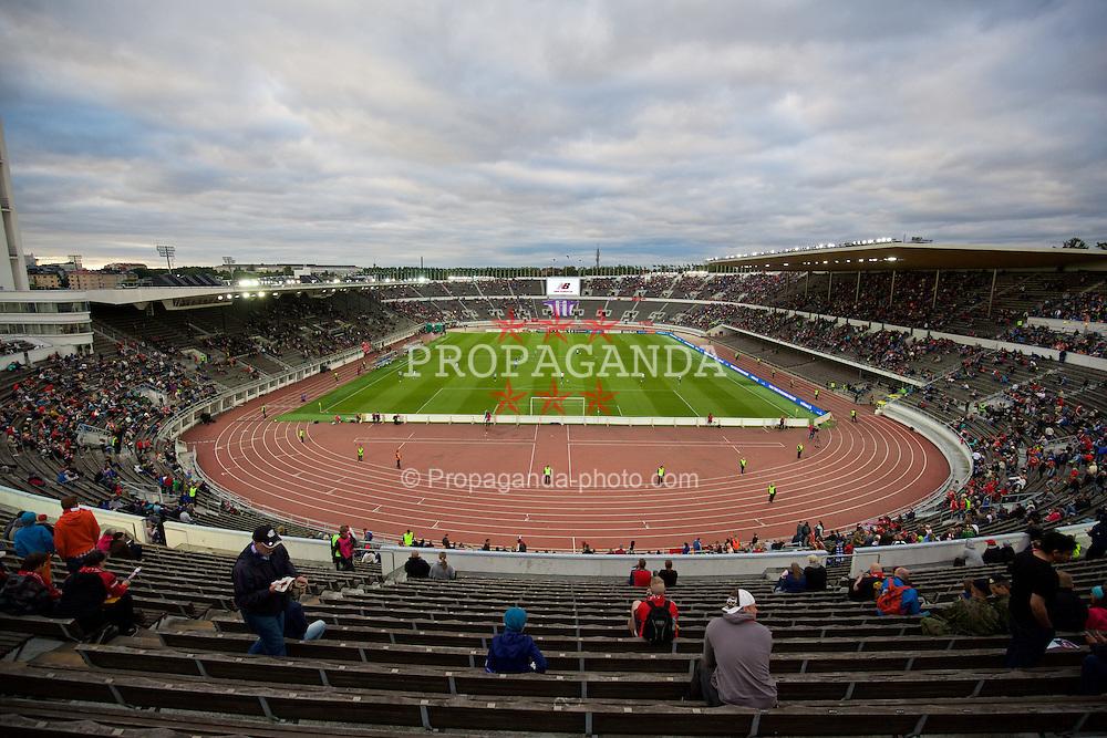 HELSINKI, FINLAND - Friday, July 31, 2015: A general view of the Olympic Stadium as HJK Helsinki take on Liverpool in a preseason friendly. (Pic by David Rawcliffe/Propaganda)