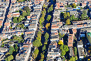 Nederland, Utrecht, Gemeente Utrecht, 30-09-2015; Zuidelijk deel van de binnenstad. Vrouwjuttenstraat en Oudegracht.<br /> Southern part of downtown Utrecht city centre with canal.<br /> luchtfoto (toeslag op standard tarieven);<br /> aerial photo (additional fee required);<br /> copyright foto/photo Siebe Swart