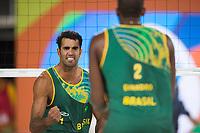 SANDVOLLYBALL<br /> 14. august 2016<br /> Olympiske leker <br /> Rio de Janeiro<br /> Brasil - Latvia<br /> Pedro Salgado Solberg , Brasil er kvart norsk<br /> Foto: Astrid M. Nordhaug