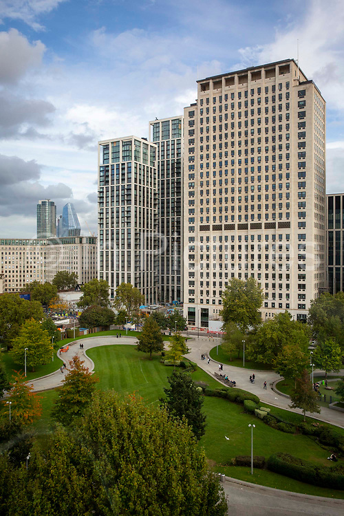 The lush green park next to the Shell building on Stamford Street, South Bank on 16th October 2019 in London, United Kingdom.