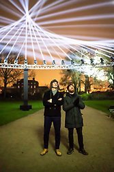 © Licensed to London News Pictures.  10/01/2019.LONDON UK. Erland Cooper, Composer and Barnaby Steel Light artist, collaborated together to create The Light and Sound installation The Nest, in Lloyd Park,Waltham Forest, Part of this weekends launch of Welcome to the Forest, the first event as part of Waltham Forest London Borough of Culture 2019 year.<br /> Photo credit: Andrew Baker/LNP