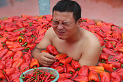 CHANGSHA, CHINA -<br /> <br /> Chilli-eating Contest Held In Ningxiang<br /> <br /> AUGUST 12: A contestant competes in chilli-eating contest in a water vat filled with chillis at Ningxiang County on August 12, 2017 in Changsha, Hunan Province of China. A man who ate 15 raw chillis in 60 seconds won the contest at last. <br /> ©Exclusivepix Media