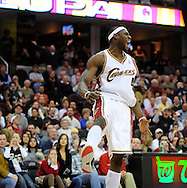 Ben Wallace celebrates after forcing a five-second penalty on Memphis during his first game in a Cavaliers' uniform.