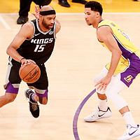 09 January 2018: Sacramento Kings guard Vince Carter (15) drives past Los Angeles Lakers guard Josh Hart (5) during the LA Lakers 99-86 victory over the Sacramento Kings, at the Staples Center, Los Angeles, California, USA.