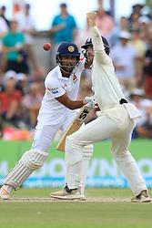 November 9, 2018 - Galle, Sri Lanka - Sri Lankan cricket captain Dinesh Chandimal  plays a shot during the 4th day's play of the first test cricket match between Sri Lanka and England at Galle International cricket stadium, Galle, Sri Lanka on 9 November 2018. (Credit Image: © Tharaka Basnayaka/NurPhoto via ZUMA Press)