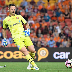 BRISBANE, AUSTRALIA - NOVEMBER 19: Michael Theo of the Roar passes the ball during the round 7 Hyundai A-League match between the Brisbane Roar and Sydney FC at Suncorp Stadium on November 19, 2016 in Brisbane, Australia. (Photo by Patrick Kearney/Brisbane Roar)