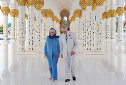 Embargoed to 0001 Wednesday December 28 File photo dated 06/11/16 of the Prince of Wales and the Duchess of Cornwall visiting Sheikh Zayed Grand Mosque in Abu Dhabi, United Arab Emirates, during the royal tour of the Middle East.