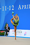 """Lopez Grisbel during ball routine at the International Tournament of rhythmic gymnastics """"Città di Pesaro"""", 10 April, 2015. Grisbel born on September 09,1995 in Valencia, is a Venezuelan rhythmic gymnast.<br /> This tournament dedicated to the youngest athletes is at the same time of the World Cup."""