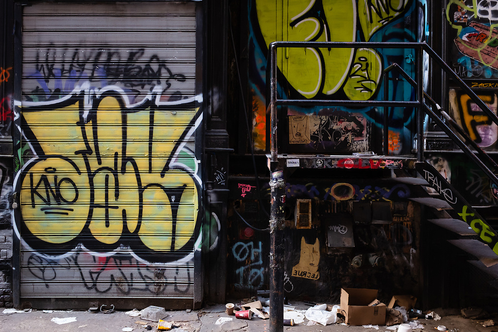Cordlandt Alley, Chinatown, New York City. Iconic graffitied and slap tagged stairway. Cortlandt Alley is on the edge of Chinatown, in that somewhat nebulous area between Chinatown, SoHo, and Tribeca, and is influenced by all the surrounding neighborhoods.