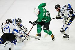 Gianluca Vallini of Broncos vs Saso Rajsar of SZ Olimpija during ice hockey match between HK SZ Olimpija and WSV Sterzing Broncos Weihenstephan (ITA) in Round #12 of AHL - Alps Hockey League 2018/19, on October 30, 2018, in Hala Tivoli, Ljubljana, Slovenia. Photo by Vid Ponikvar / Sportida