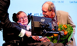 Stephen Hawking during his speech, The Universe as a hologram in the Beatrix Theater in Utrecht, Netherlands on May 22, 2014. Photo by ROBIN UTRECHT/ABACAPRESS.COM