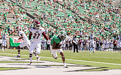 Sep 5, 2020; Huntington, West Virginia, USA; Marshall Thundering Herd wide receiver Talik Keaton (9) makes a catch for a touchdown during the first quarter against the Eastern Kentucky Colonels at Joan C. Edwards Stadium. Mandatory Credit: Ben Queen-USA TODAY Sports