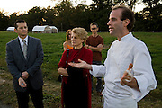 Stone Barns Center for Food and Agriculture at Blue Hills. Pocantico Hills, New York State. Dan Barber, chef, leads tour of restaurant guests before dinner. on a September evening.  (Chef Dan Barber is mentioned in the book What I Eat: Around the World in 80 Diets.)