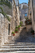 Empty stone steps of stairway in ancient hill city of Modica Alta famous for Baroque architecture, South East Sicily