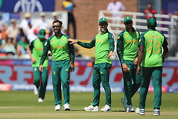 June 28, 2019 - Chester Le Street, County Durham, United Kingdom - JP Duminy celebrates with his team mates after bowling Sri Lanka's Dhananjaya de Silva during the ICC Cricket World Cup 2019 match between Sri Lanka and South Africa at Emirates Riverside, Chester le Street on Friday 28th June 2019. (Credit Image: © Mi News/NurPhoto via ZUMA Press)