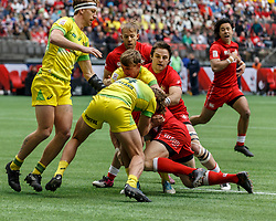 March 10, 2018 - Vancouver, British Columbia, U.S. - VANCOUVER, BC - MARCH 10: Loose ruck play during Game # 7- Australia vs Canada Pool A match at the Canada Sevens held March 10-11, 2018 in BC Place Stadium in Vancouver, BC. (Photo by Allan Hamilton/Icon Sportswire) (Credit Image: © Allan Hamilton/Icon SMI via ZUMA Press)