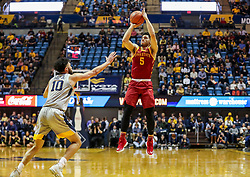 Mar 6, 2019; Morgantown, WV, USA; Iowa State Cyclones guard Lindell Wigginton (5) shoots during the first half against the West Virginia Mountaineers at WVU Coliseum. Mandatory Credit: Ben Queen-USA TODAY Sports