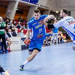 Jerome Mueller (TVB Stuttgart #27) ; Tim Kneule (FRISCH AUF! Goeppingen #4) ; LIQUI MOLY HBL 20/21  1. Handball-Bundesliga: TVB Stuttgart - FRISCH AUF! Goeppingen am 24.04.2021 in Stuttgart (SCHARRena), Baden-Wuerttemberg, Deutschland beim Spiel in der Handball Bundesliga, TVB 1898 Stuttgart - FRISCH AUF! Goeppingen.<br /> <br /> Foto © PIX-Sportfotos *** Foto ist honorarpflichtig! *** Auf Anfrage in hoeherer Qualitaet/Aufloesung. Belegexemplar erbeten. Veroeffentlichung ausschliesslich fuer journalistisch-publizistische Zwecke. For editorial use only.