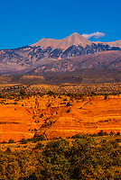 Sandstone rock formations with the La Sal Mountains in the background, near Moab, Utah USA.