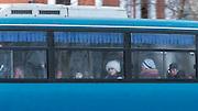 Bus passengers in Komsomolsk-na-Amure.Siberia, Russia