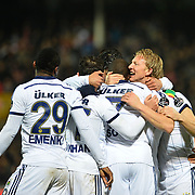 Fenerbahce's Dirk Kuyt (R) celebrate his goal with team mate during their Turkish superleague soccer match Gaziantepspor between Fenerbahce at the Kamil Ocak stadium in Gaziantep Turkey on Saturday 14 February 2015. Photo by TURKPIX