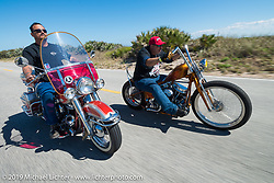 Warren Lane out for a ride on his 1964  Panhead with Ray Ray Llanes on his Warren Lane custom Panhead chopper during Daytona Bike Week. FL, USA. March 14, 2014.  Photography ©2014 Michael Lichter.