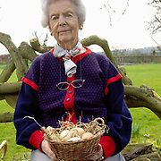 A lifelong lover of chickens, Deborah Devonshire holds a basket of hens eggs at her home on the Chatsworth Estate, Derbyshire. Deborah Vivien Cavendish, the Dowager Duchess of Devonshire, née The Hon. Deborah Freeman-Mitford, is the youngest and last surviving of the six Mitford sisters whose political affiliations and marriages were a prominent feature of English culture in the 1930s and 1940s.