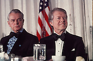 Senator Robert Byrd and President Carter at a congressional dinner in February 1977.  Assignment for TIME. One used in TIME  2/7/77 page 22...Photograph by Dennis Brack bb 21