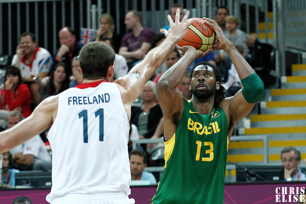 31 July 2012: Brazil Nene Hilario takes a jumpshot during 67-62 Team Brazil victory over Team Great Britain, during the men's basketball preliminary, at the Basketball Arena, in London, Great Britain.