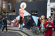 Street art tour look at street art near Brick Lane in the East End of London. This is an ever changing visual enigma, as the artworks constantly change, as councils clean some walls or new works go up in place of others. While some consider this vandalism or graffiti, these artworks are very popular among local people and visitors alike, as a sense of poignancy remains in the work, many of which have subtle messages.