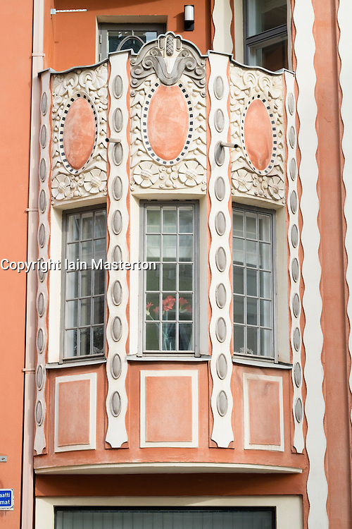 Detail of art nouveau decoration on apartment building in Helsinki Finland