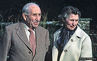 83 year old Lord Brookeborough, 1st Viscount, of Colebrooke Park, Brookeborough, Co Fermanagh, N Ireland, UK, with his bride-to-be, Mrs Irene Calvert, the widow of Cecil Calvert, who was director of neurosurgery at the Royal Victoria Hospital, Belfast. 197102000105d.<br /> <br /> Copyright Image from Victor Patterson, 54 Dorchester Park, Belfast, UK, BT9 6RJ<br /> <br /> t1: +44 28 9066 1296 (from Rep of Ireland 048 9066 1296)<br /> t2: +44 28 9002 2446 (from Rep of Ireland 048 9002 2446)<br /> m: +44 7802 353836<br /> <br /> victorpatterson@me.com<br /> www.victorpatterson.com<br /> <br /> Please see my Terms and Conditions of Use at victorpatterson.com . It is IMPORTANT that you familiarise yourself with them.<br /> <br /> Images used on the Internet incur an additional cost and must be visibly watermarked i.e. ©Victor Patterson within the body of the image and copyright metadata must not be deleted. Images used on the Internet have a size restriction of 4kbs and are chargeable at rates available at victorpatterson.com.<br /> <br /> This image is only available for the use of the download recipient i.e. television station, newspaper, magazine, book publisher, etc, and must not be passed on to any third party. It is also downloaded on condition that each and every usage is notified within 7 days to victorpatterson@me.com<br /> <br /> The right of Victor Patterson to be identified as the author is asserted in accordance with The Copyright Designs And Patents Act (1988). All moral rights are asserted.