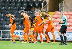 Dundee United's Thomas Mikkelsen celebrates after scoring their goal. half time : Dundee United 1 v 0 Raith Rovers, Scottish Championship game played 4/2/2017 at Dundee United's stadium Tannadice Park.