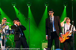 A Blues Brothers tribute band got the crowd fired up at the Twin Club's clubhouse party after their big annual Bike Show in Norrtälje, Sweden. Saturday, June 1, 2019. Photography ©2019 Michael Lichter.