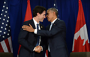 Canadian Prime Minister Justin Trudeau, left, takes part in a bilateral meeting with U.S. President Barack Obama at the APEC Summit in Manila, Philippines on Thursday, November 19, 2015. THE CANADIAN PRESS/Sean Kilpatrick